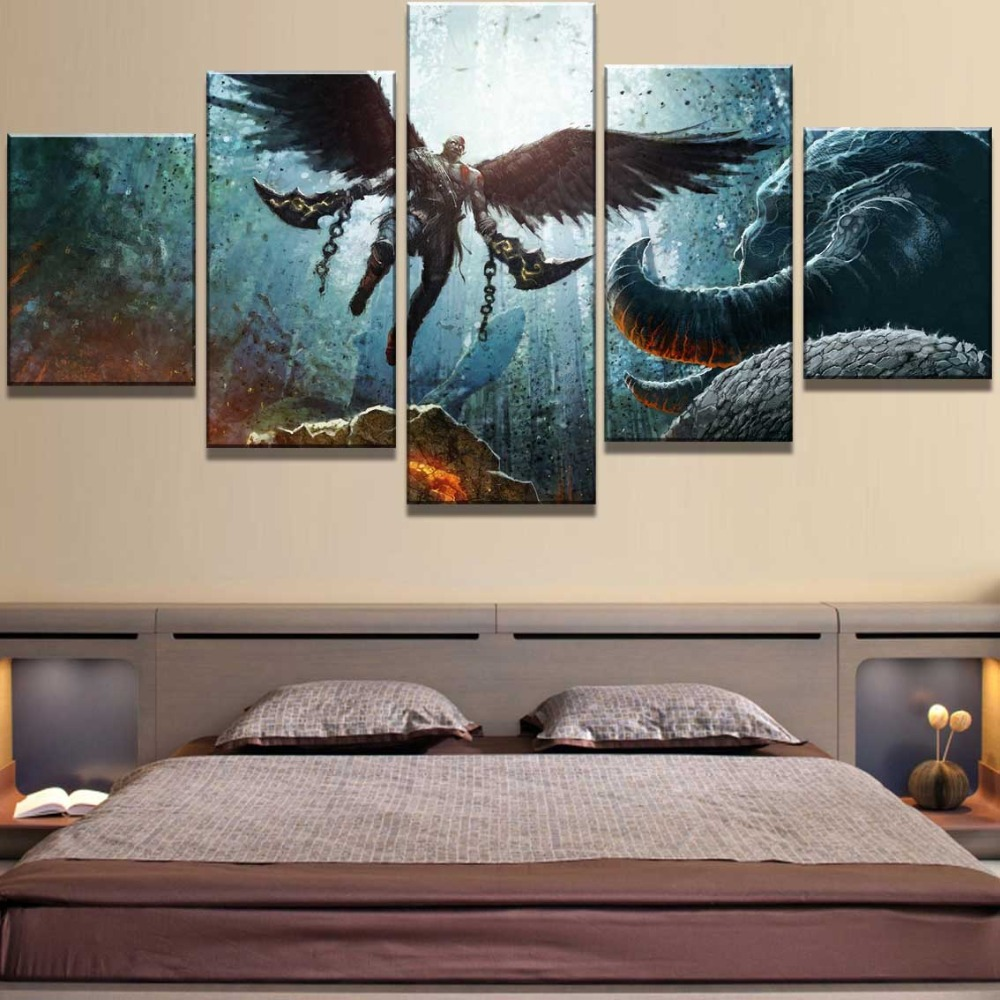 Modular 5 Piece Canvas Painting God Of War Game Poster Cuadros Landscape Canvas Wall Art Home Decor For Living Room Wall Picture