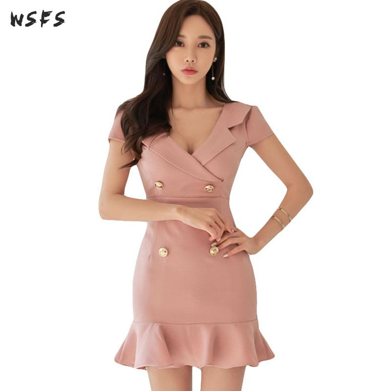 Summer Dresses Pink Vneck Short Sleeve Womens Dress 2019 Office Ladies Elegant Bodycon Sexy Party Button Wrap Mermaid Mini Dress