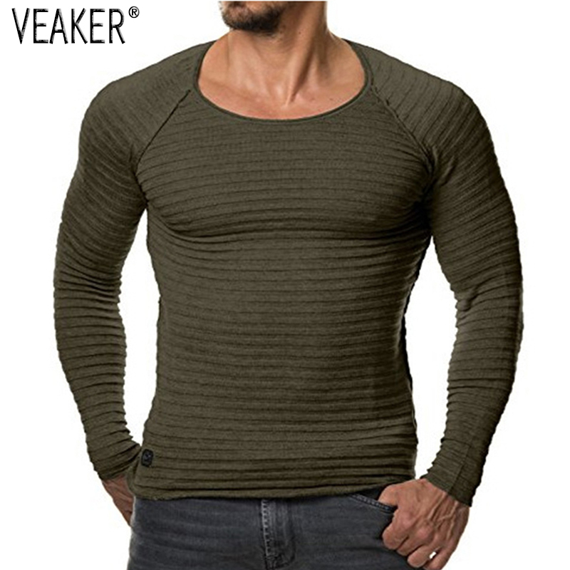 Knitted Sweater Pullover Slim-Fit O-Neck Long-Sleeve Male Autumn Men's Casual Red Black