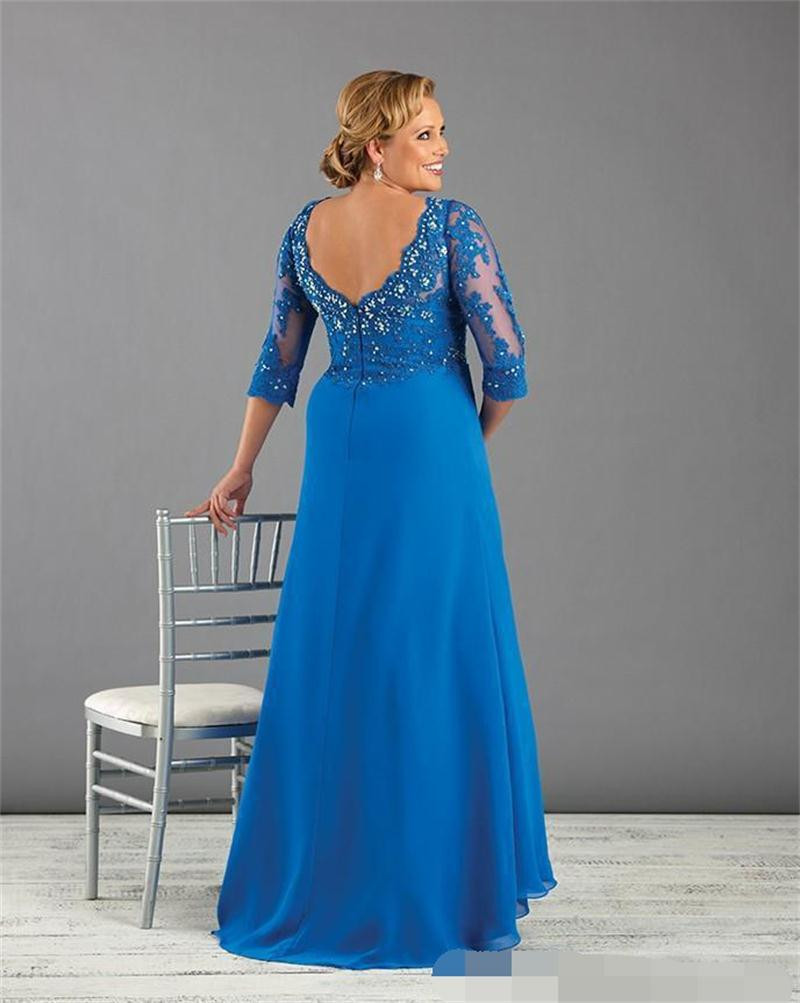 Appliques Beading Chiffon Blue Plus Size Mother Of The Bride Dress With Sleeve 2