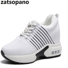 New Women Summer Mesh Platform Sneakers Trainers White Shoes 10CM