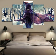 Canvas Wall Art Painting Snowy White Ruby Rose RWBY Anime HD Print 5 Piece Modern Decor For Living Room