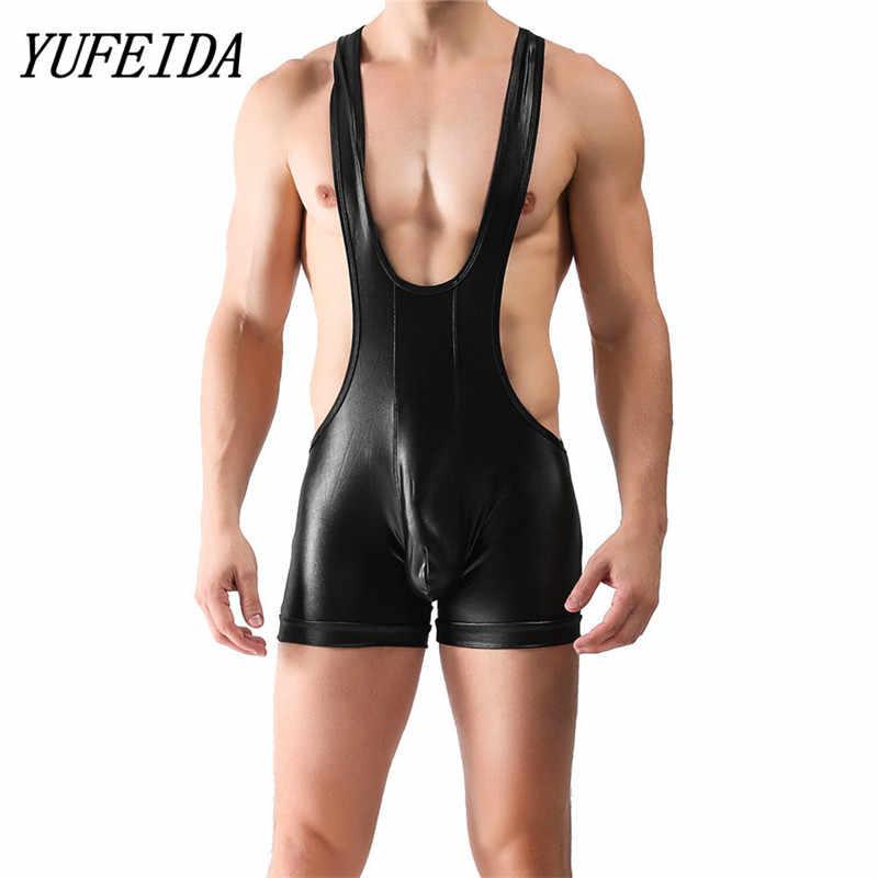 22b1179a6 Detail Feedback Questions about Sexy Bodysuits for Men Imitation Leather Men s  Jockstrap Bodysuit Soft Thin Freestyle Wrestling Singlet Underwear on ...