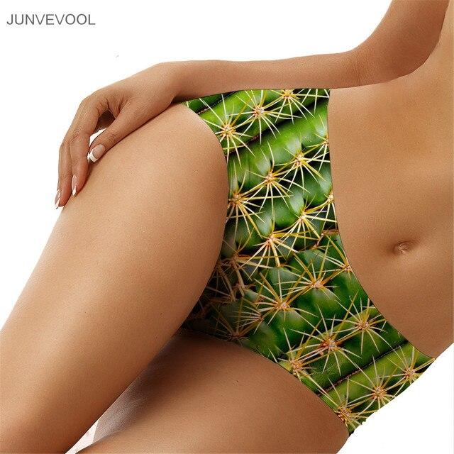 Sexy Panties for Women Hot Sale Bikini Bottom Women's Sexy Panties Middle Waist Ladies 3D Cactus Printed Tattoo Briefs Underwear