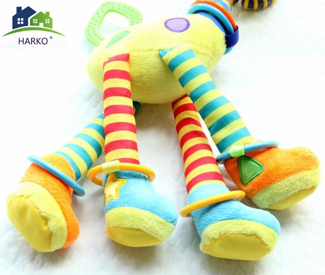 New Arrival  Soft Giraffe Animal Handbells Rattles Plush Infant Baby Development Handle Toys Hot Selling WIth Teether Baby Toy