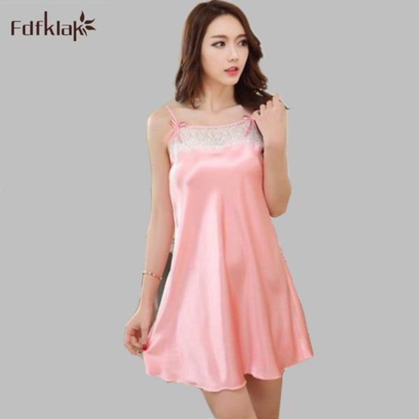 Sexy Sleepwear Silk Nightwear Spaghetti Strap Womens Nightshirts Summer New  Plus Size Satin Nightgown Night Shirt 9be54be0e