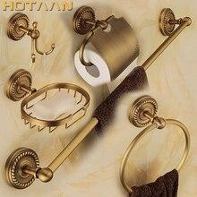 送料無料、固体真鍮の浴室アクセサリーセット、ローブフック、ペーパーホルダー、タオルバー、石鹸バスケット、バスルームセット、 YT-12200-5