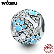 WOSTU 925 Sterling Silver Clear CZ Dog Footprints Bones Beads Charm Fit Original Bracelet Bangle Fine Jewelry Making Gift CQC765