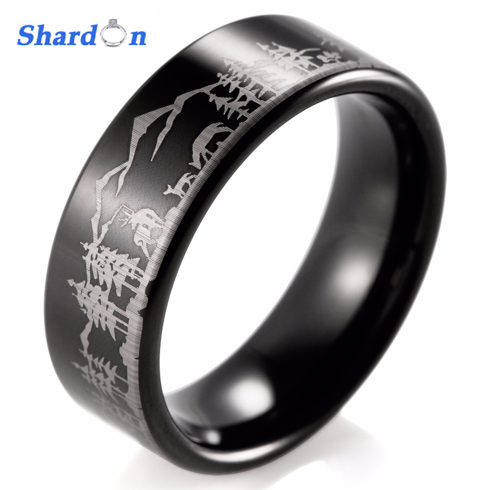 SHARDON Animal Landscape Scene Reindeer Deer Stag Mountain Range Ring Engraved Flat Tungsten Ring bague men rings anillos anel