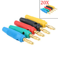 New 20 Pcs Gold Plated 4mm Banana Plug Screw To Speaker Amplifier Binding Post Test Probes