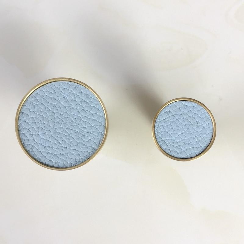 Скандинавская латунь+ кожа круглая одежда подвесной крючок крыльцо/гостиная/кабинет декоративное пальто настенный Hook-1Pack - Цвет: Blue