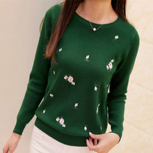 New Youth Women's Sweater Autumn 2017 Winter Fashion Elegant Peach blossoms Embroidery Thick Pullovers Slim Thin Sweater Female