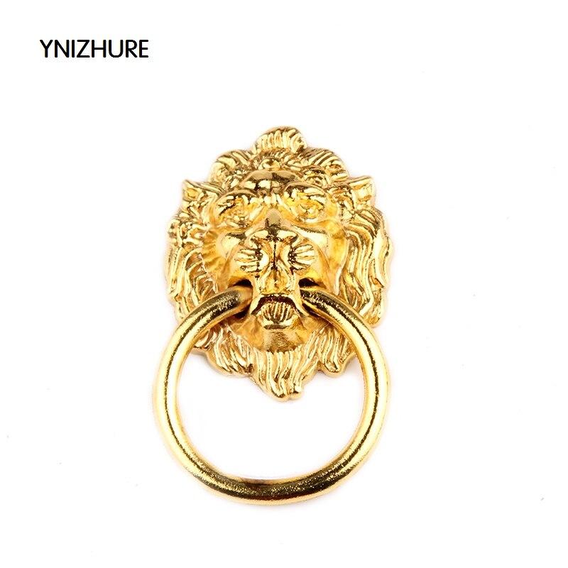 67*46MM kitchen cabinet knobs Retro traditional luxury gold antique wardrobe cupboard handle high-grade lion head door handle