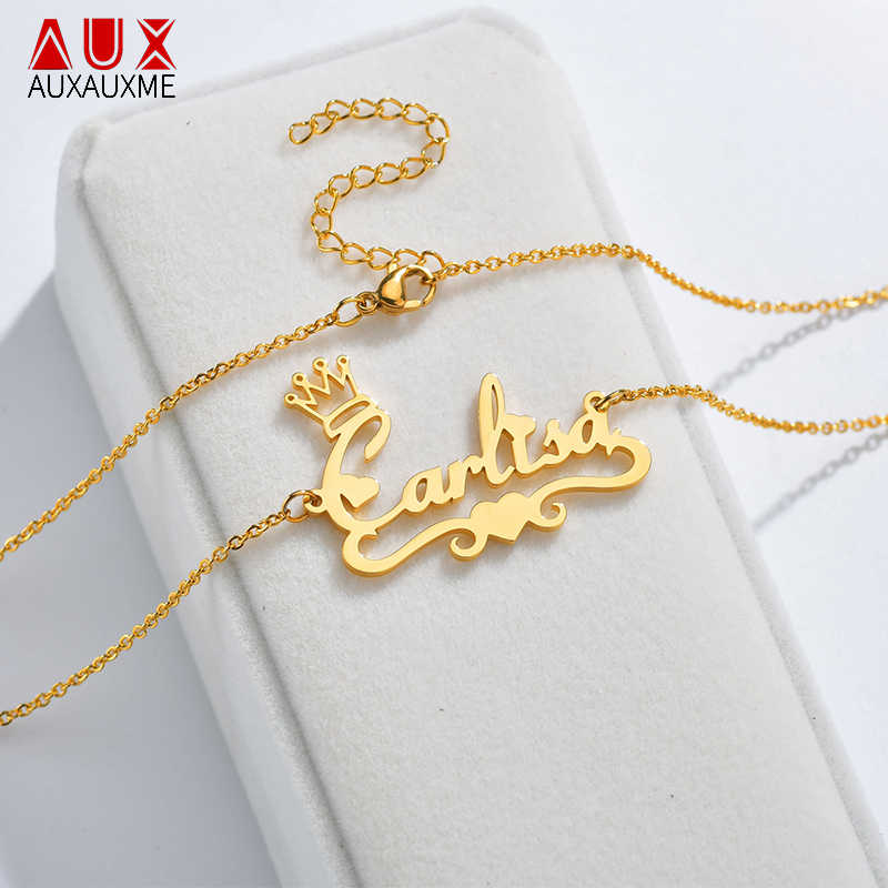 Auxauxme Personalized Custom Necklace Gold Stainless Steel Handwriting Heart Name Necklaces For Gift Nameplate Charm Jewelry
