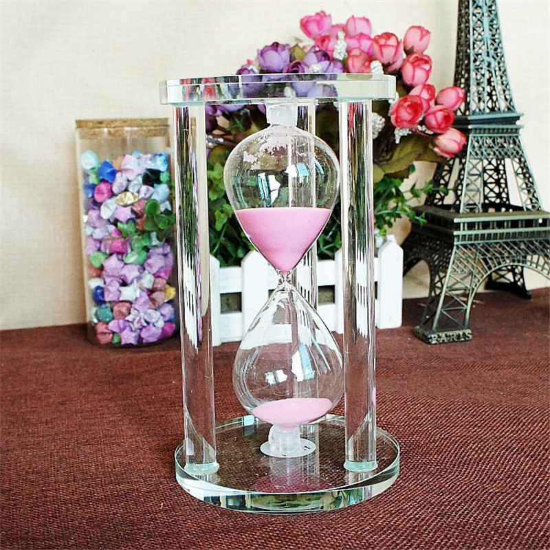 3/5/10/15 Minutes Round Base Crystal Timer Hourglass Home Decoration sand clock timer Xmas Gift