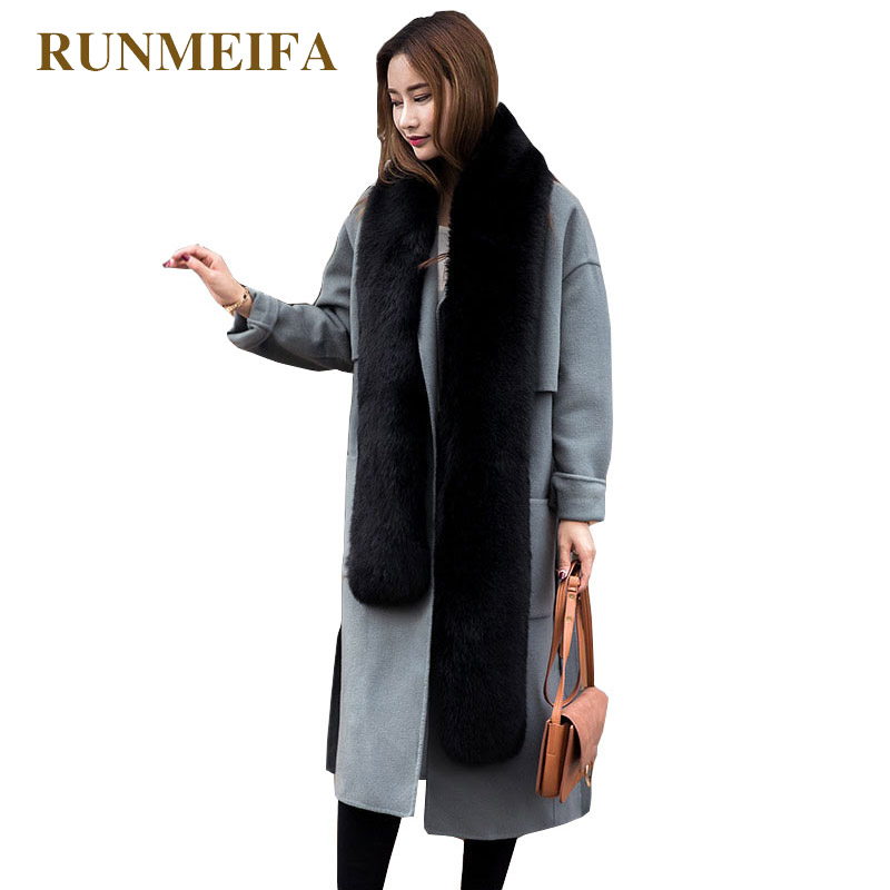 RUNMEIFA Solid Color Simulation Fox Fur Shawl For Women Winter Warm   Scarf   Collar Shawl   Wraps   Femme Noble Fur Shawl Free Style