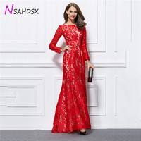 Upscale Red Embroidery Summer Party Dress Vestido Verano 2018 New Long Slim Embroidery Long Sleeved Floor Length Dress Plus Size