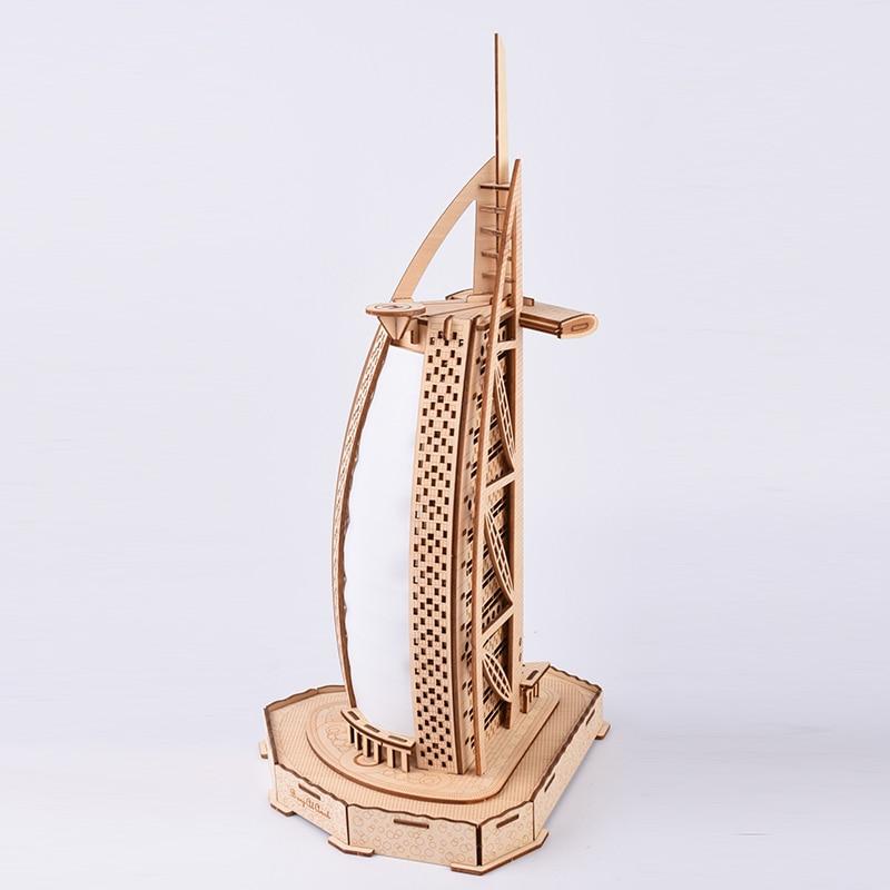 Burj Al Arab Dubai Sailing Hotel 3D Wooden Model Puzzle Laser Cut Jigsaw Toys Figurine Building Model For Home Decor