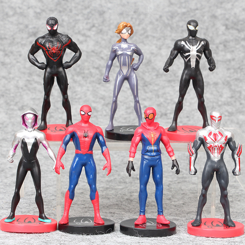 7Pcs/Set Super Heroes The Avengers Spider Man Action Figures Toys Spiderman Cartoon Movie Model Dolls 9CM Accept Dropshipping