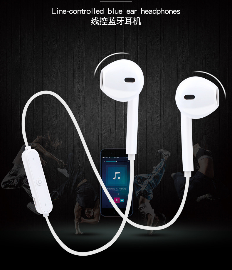 S6 Sport Wireless Headphone Neckband Line-controlled Bluetooth Earphone With Microphone Call Volume Control Headphone For Phone