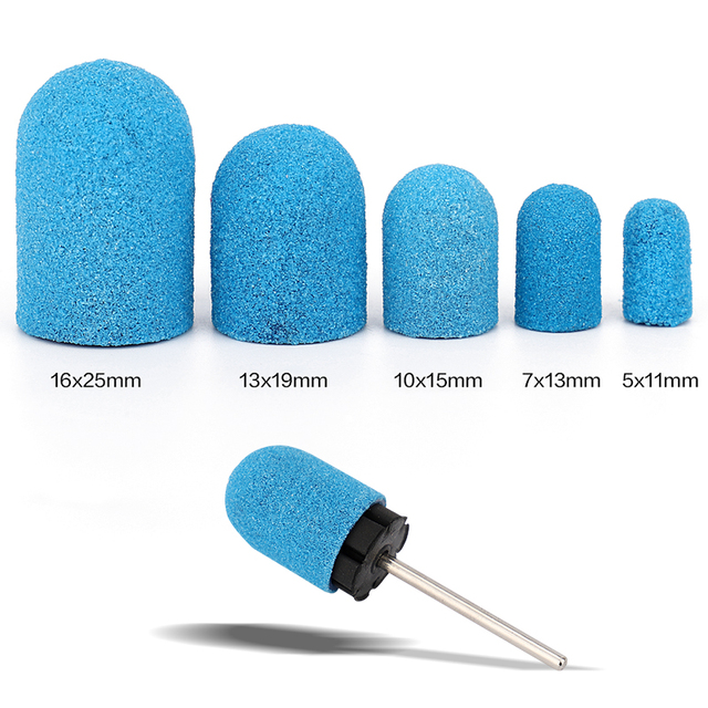 5pcs Blue Sanding Bands Block Caps Grip120# 80# 180# Sanding Caps Manicure Pedicure Electric Nail Drill Bits Cutters 5