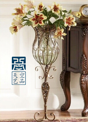 ... Janeu0027s, Wrought Iron Glass Vase, Large Living Room Table Flower Vases,  Flower Implement ... Part 66