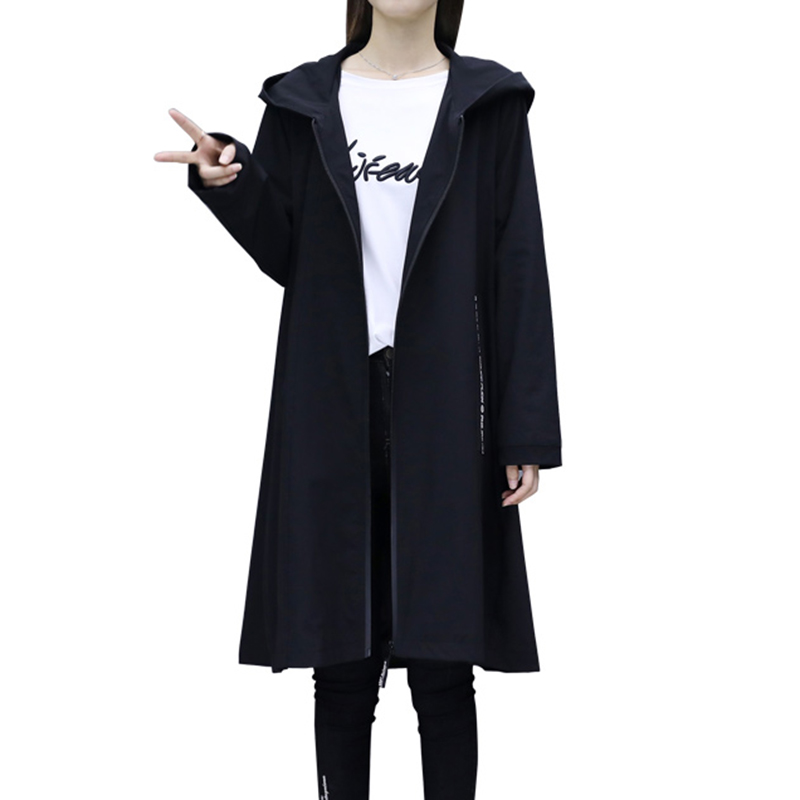 Fashion Hooded   Trench   Coat Women 2019 Spring Autumn Black Long Windbreaker Coat Female Loose Casual Top   Trench   Plus size A2553