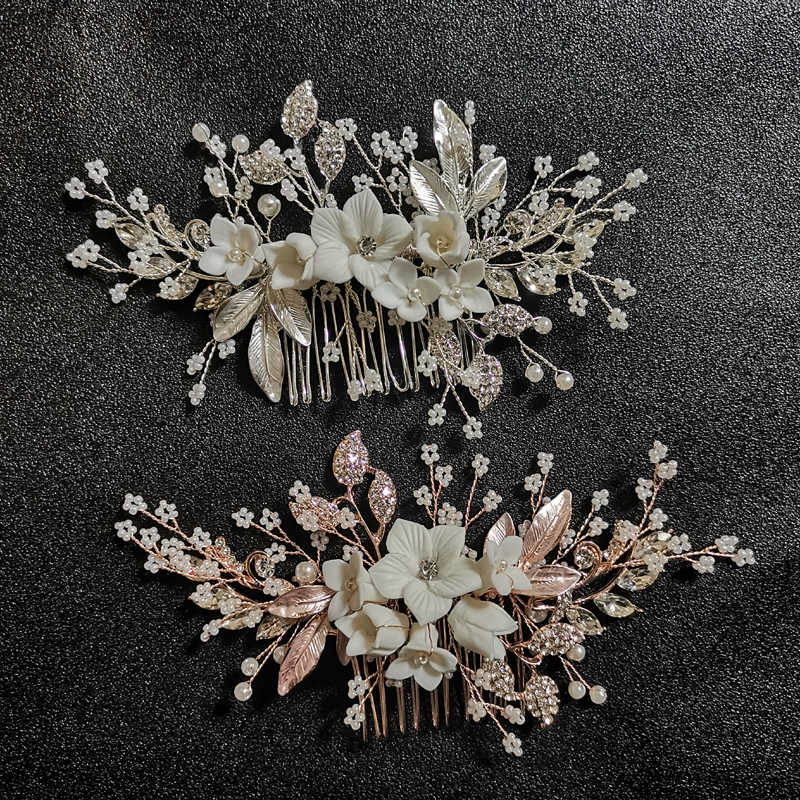 SLBRIDAL Silver Clear Crystal Rhinestones Pearls Flower Wedding Jewelry Hair Comb Bridal Headpieces Hair Accessories Bridesmaids