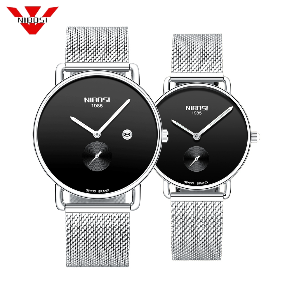 NIBOSI 2019 Luxury Brand Lover Watch Pair Waterproof Steel Men Women Couples Lovers Watches Set Wristwatches Relogio Feminino