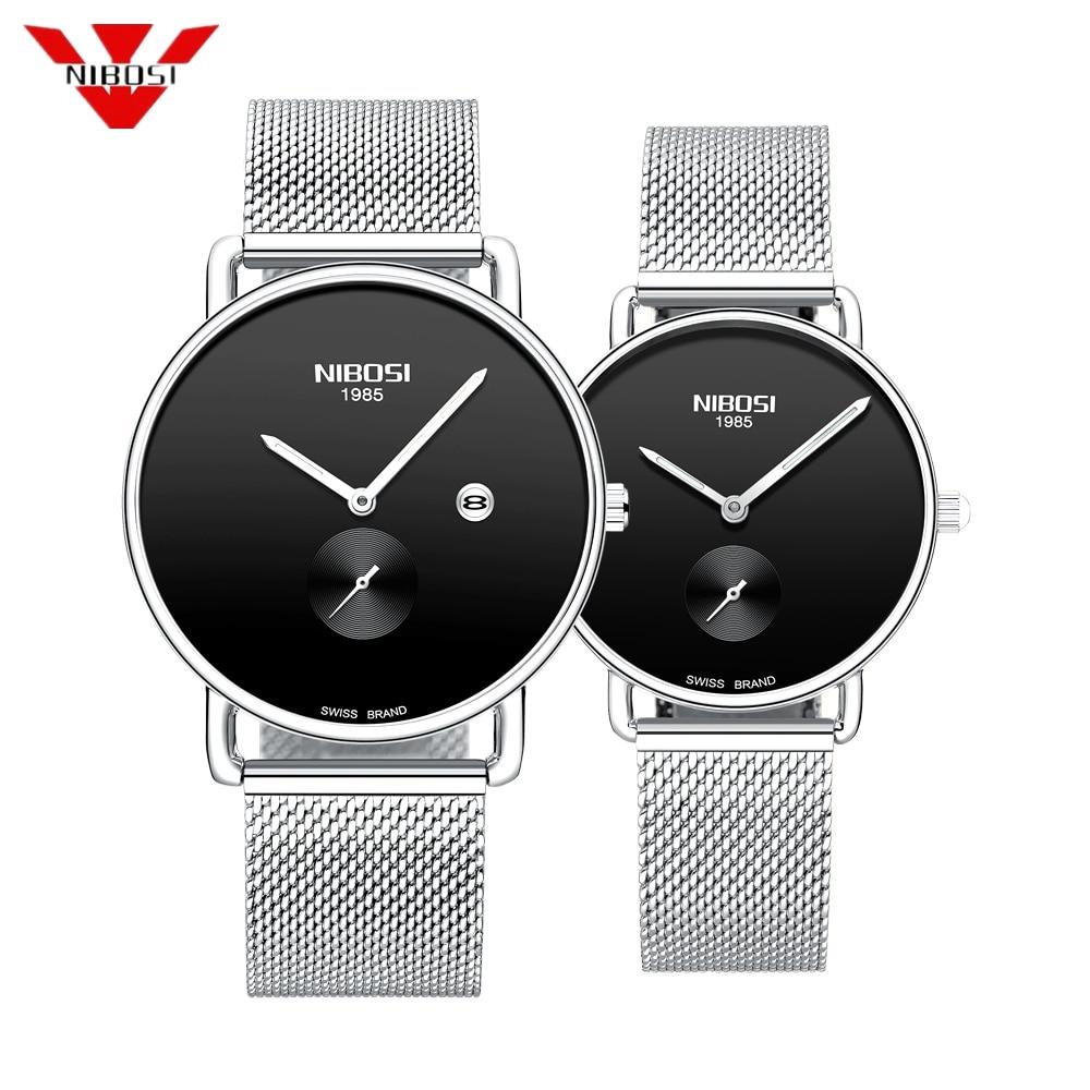 NIBOSI 2019 Luxury Brand Lover Watch Pair Waterproof Steel Men Women Couples Lovers Watches Set Wristwatches Relogio Feminino