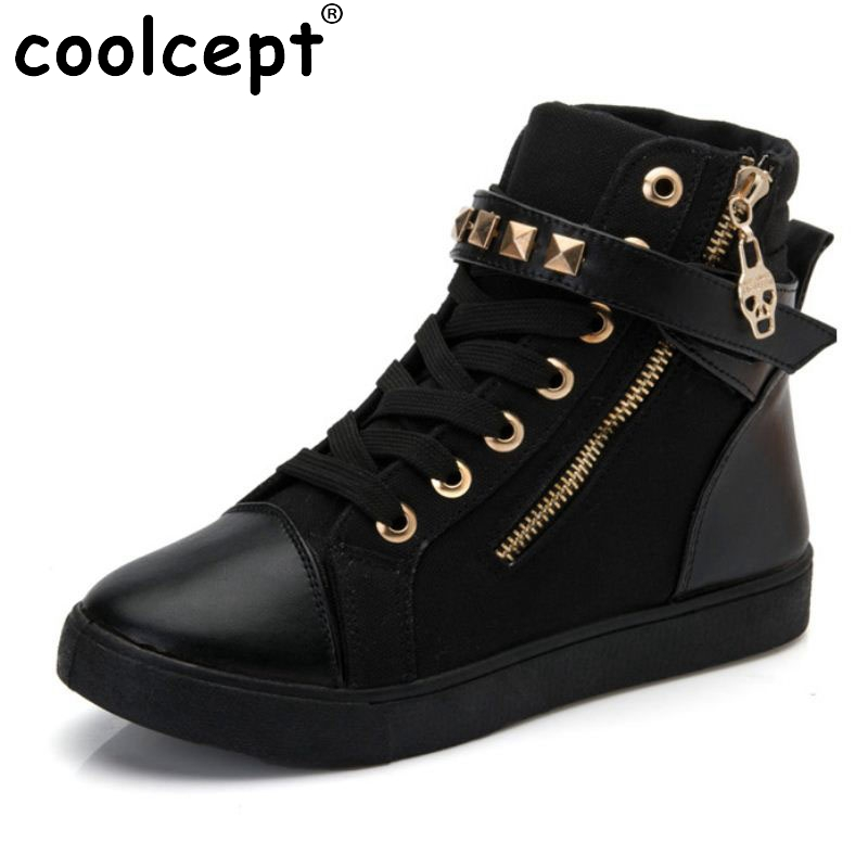 Coolcept Classics Women Flats Canvas Shoes Fashion Zipper Lace Up Rivet Shoes Daily Leisure Sneaker Women Footwear Size 35-40