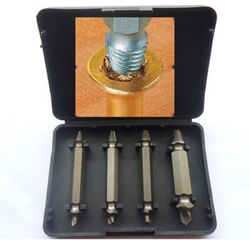 Hot 4pc Damaged Screw Extractor Out Remover Set Bolt Stud Tool Kit Box 1# 2# 3# 4#