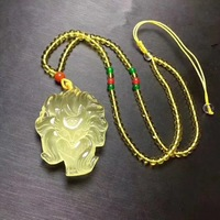 Fox pendant carved with natural yellow crystal animal is beautiful and auspicious