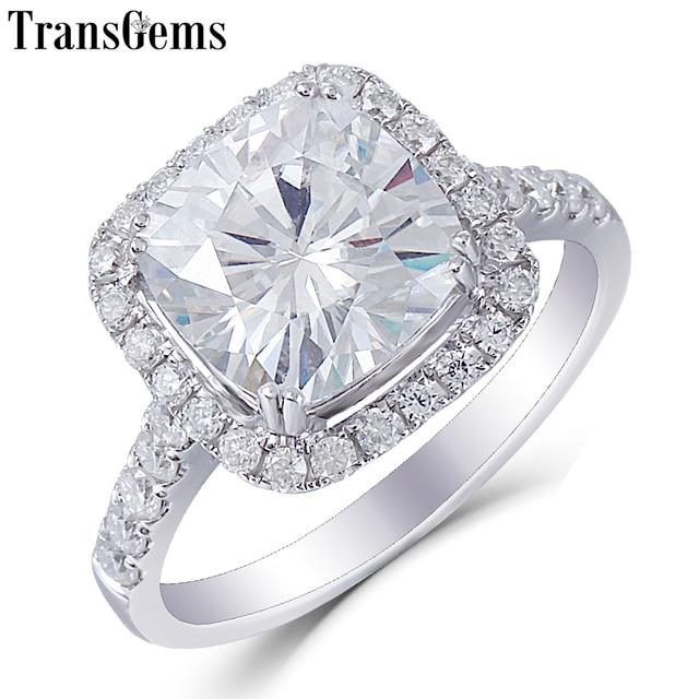 Us 529 0 Transgems Center 3ct Moissanite Halo Engagement Ring 10k White Gold 8 5mm Cushion Cut Moissanite Fine Jewelry For Women Wedding In Rings