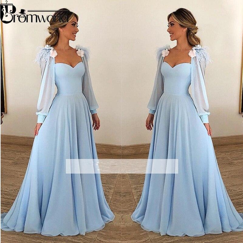 US $74.52 31% OFF|Light Blue Muslim Evening Dresses 2019 A line Flowers  Chiffon Plus Size Prom Dress Arabic Dubai Long Sleeves Evening Gown-in  Evening ...