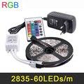 RGB Tira CONDUZIDA 5 M 60 Leds/m 2835 SMD Luz Flexível do DIODO EMISSOR de Fita Decoração do partido Lâmpadas DC12V 2A Adaptador de Alimentação + IR Remote Controller
