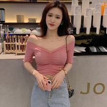 цена Women Ruched Fashion V Neck Short Sleeve T Shirt Summer Solid Color Knitted Sexy Slim Crop Top Women Korean Casual T-Shirt Women