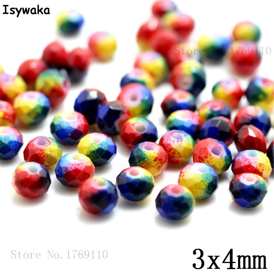 Isywaka 3X4mm 30,000 pièces Rondelle Autriche facettes En Verre Cristal Perles Lâche Entretoise Ronde Perles Fabrication De Bijoux NO 54