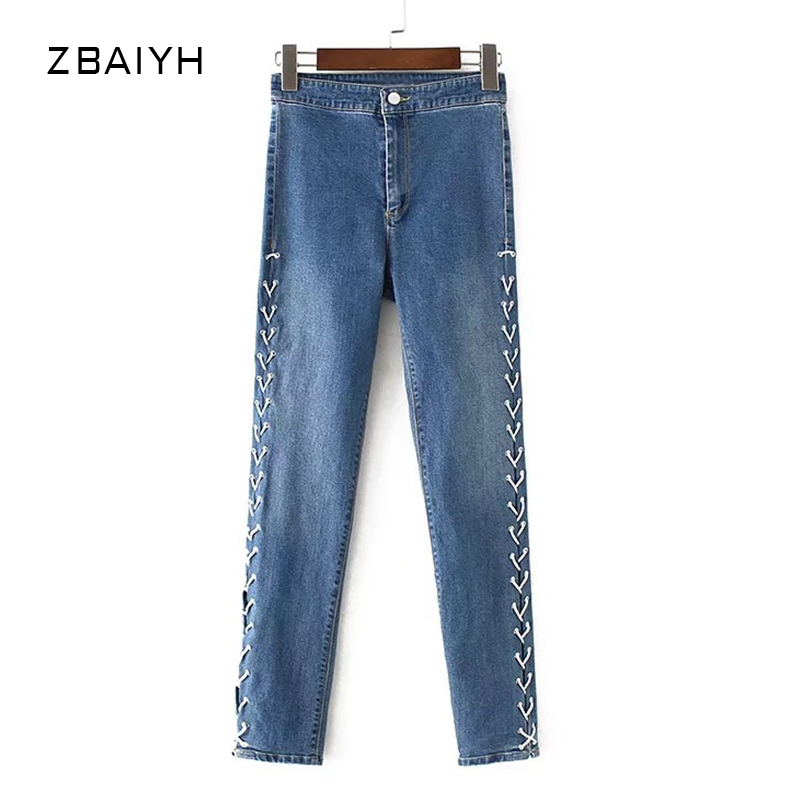 Autumn Jeans Woman ZBAIYH 2017 Fashion High Waist Jeans Loose Denim Pants Trousers Women Vintage Jeans Bandage Pant for Womens 2017 woman classic vintage jeans womens loose casual fringed false two piece cool denim jeans girl for women high waist pants