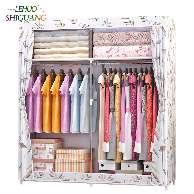 Simple fashion Wardrobe Non-woven Fabric Steel frame reinforcement Standing Storage Organizer Clothes cabinet bedroom furniture fashion home furniture bedroom non woven fabric family wardrobe standing storage organizer closet cabinet high foot shelf