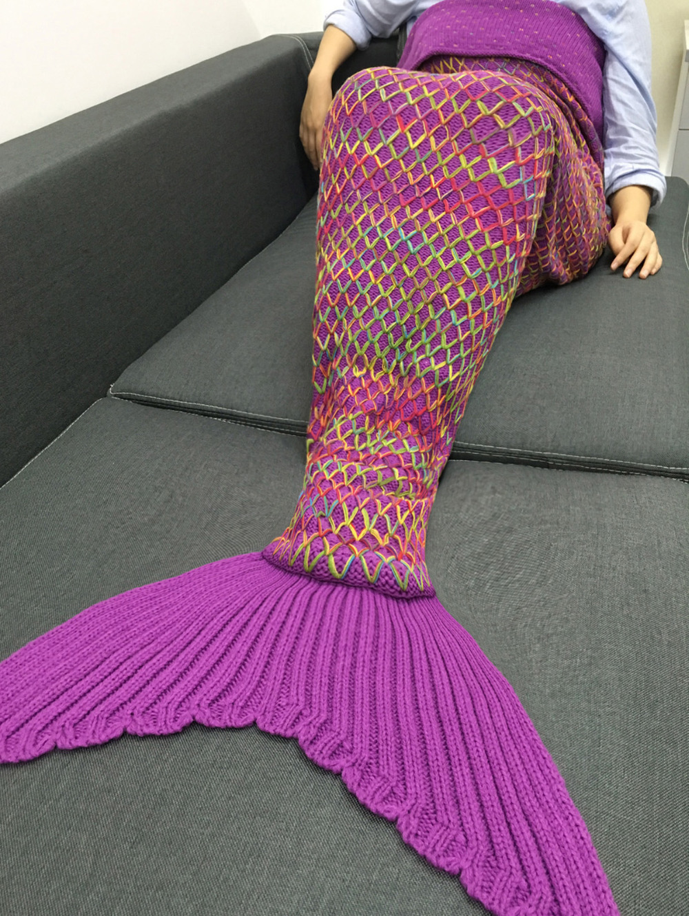 Knitting Pattern Mermaid Tail Blanket : 2017 Xmas Christmas Gift Rainbow Mermaid Blanket Pattern Crochet Mermaid Tail...
