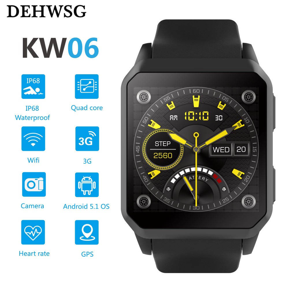 DEHWSG GPS Smart Watch Men KW06 Heart Rate Monitor Bluetooth Alarm Clock Wrist Watch IP68 Waterproof for Android IOS PK KW88