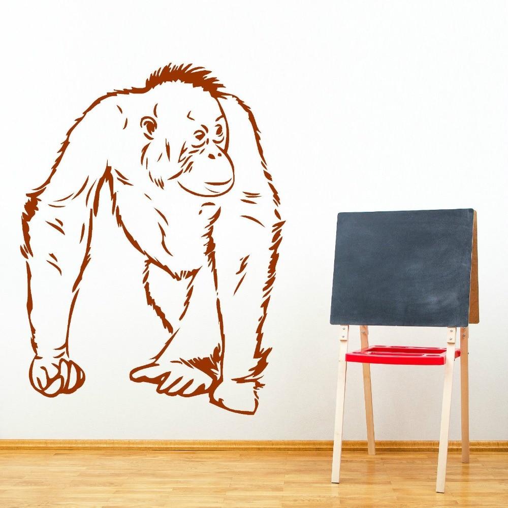 Hot Animal Orangutang Camina Vinilo adhesivo mural Removable Vinyl Art Wall Sticker orangutan Monkey Decal M-177