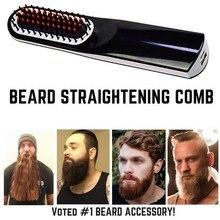 Inalámbrico hombres rápido barba plancha Styler peine LCD multifuncional USB inalámbrico alisado cepillo rápido de herramientas de peinado