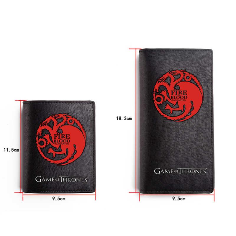 Мультфильм печати Старк Игра престолов человек кожаный бумажник высокого качества тонкая кредитница маленький кошелек, длинные бумажники мужская сумка для денег