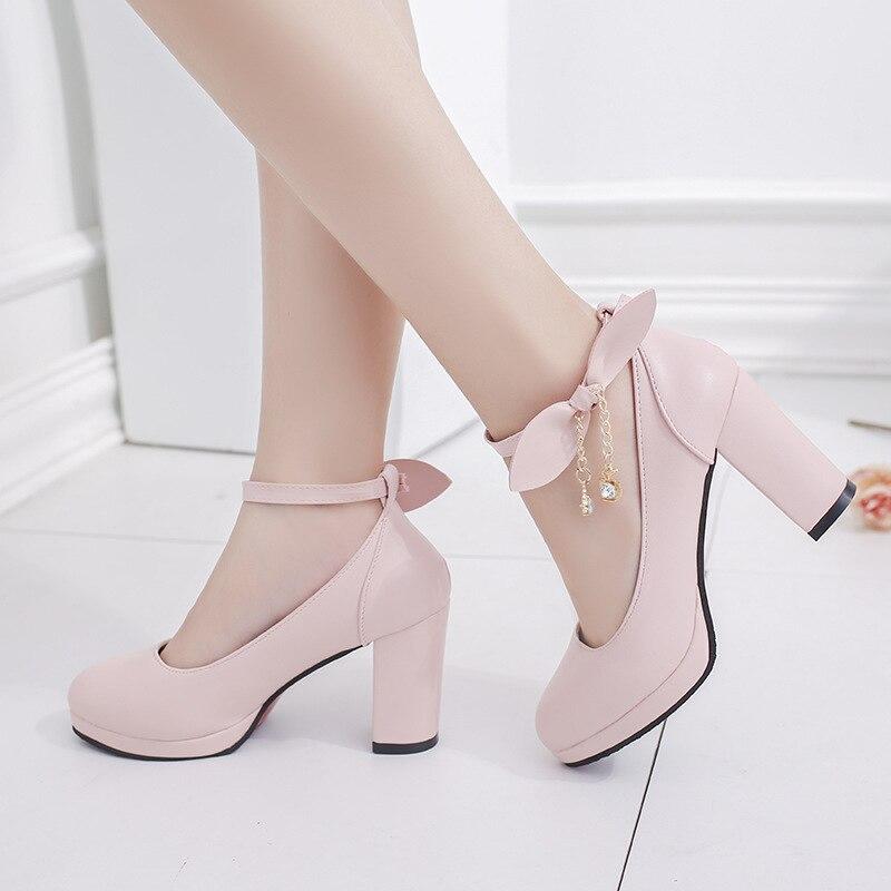 Douce Chaussures Bout Lapin Lolita Beige Plate Cosplay Cuir Shoe3986 Rond Pompes noir rose Talons Princesse Sangles Fête Épais Femmes Boucle forme En Solide 6EwURErWzq