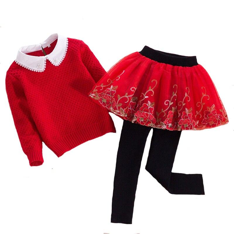 Fashion Autumn Girls Sweater Set cotton Coat and Knit Culottes 2pcs for Children Princess Warm Floral Clothing School 4Y-8YFashion Autumn Girls Sweater Set cotton Coat and Knit Culottes 2pcs for Children Princess Warm Floral Clothing School 4Y-8Y