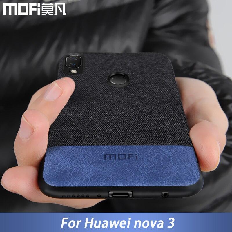 Para Huawei tampa da caixa nova 3 nova 3 tecido borda de silicone à prova de choque tampa traseira capas de telefone MOFi original para Huawei nova 3 caso