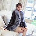 Faux Fur Leather Coat Plus Tamaño Abrigo de Cuello de Piel de Conejo chaqueta de Las Mujeres de piel de Oveja 2016 Nuevas Mujeres del Invierno Caliente de La Manera prendas de vestir exteriores