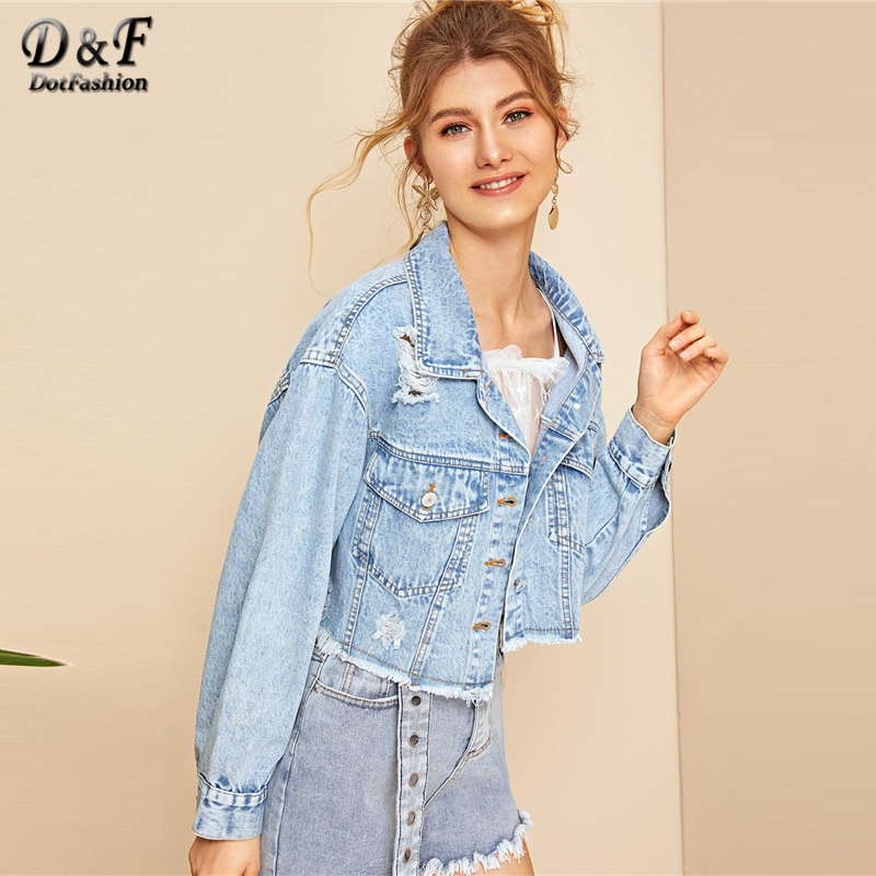 Image 5 - Dotfashion Blue Ripped Frayed Edge Flakes Crop Denim Jacket Women 2019 Autumn Casual Single Breasted Clothing Autumn Solid Coat-in Jackets from Women's Clothing